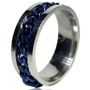 Punk Rock Spinner Blue Woven Chain Ring
